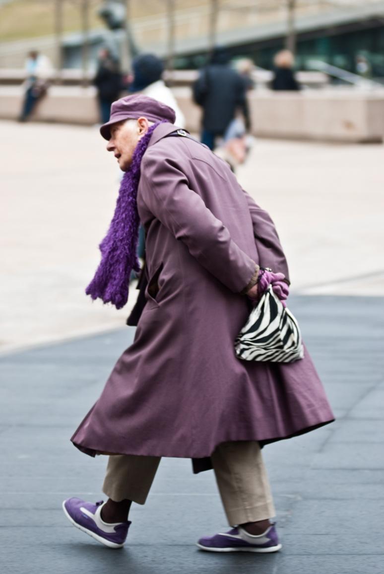 Women Fashion | NYFW 2012 | Street Style | Lincoln Center | Purple Coat