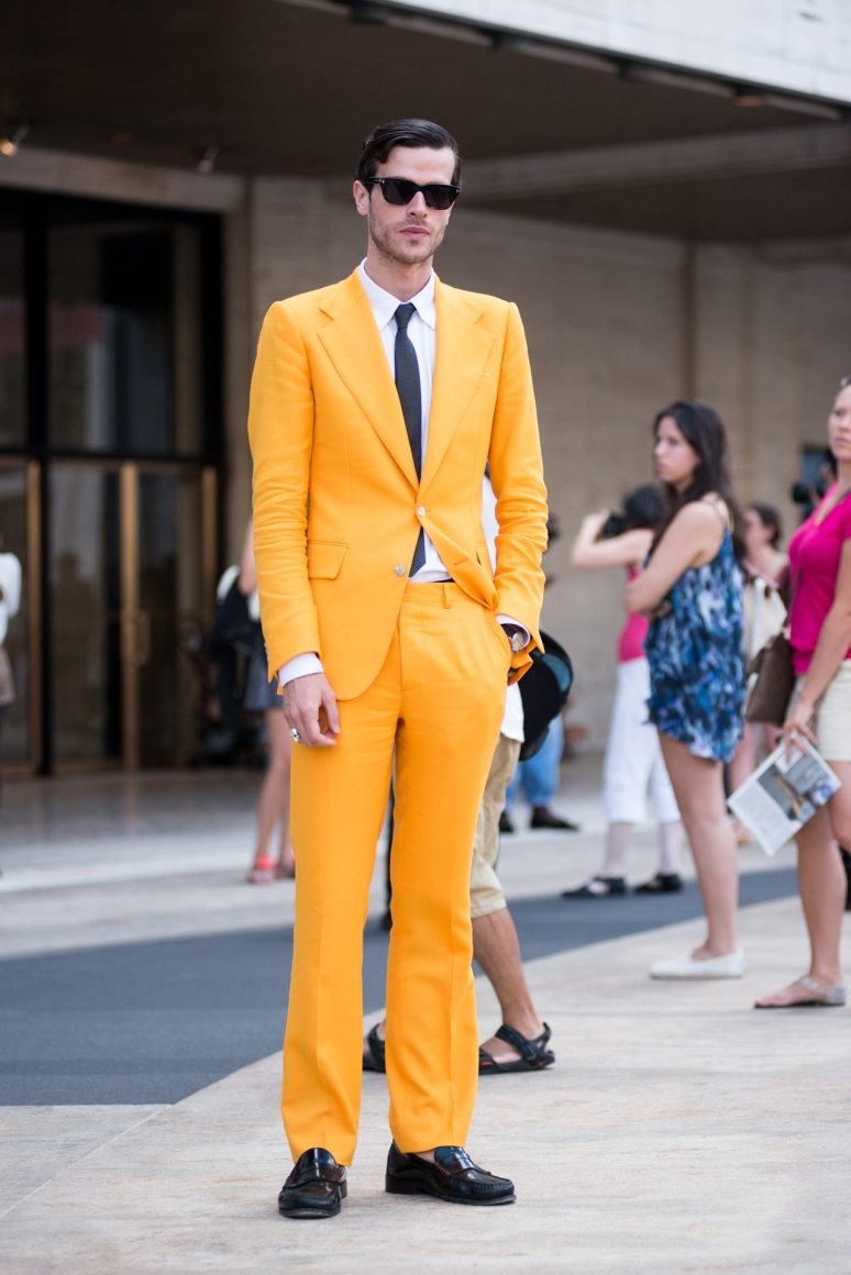 New York Fashion Week Street Style | Gold Suit | Men Fashion | Street Photography
