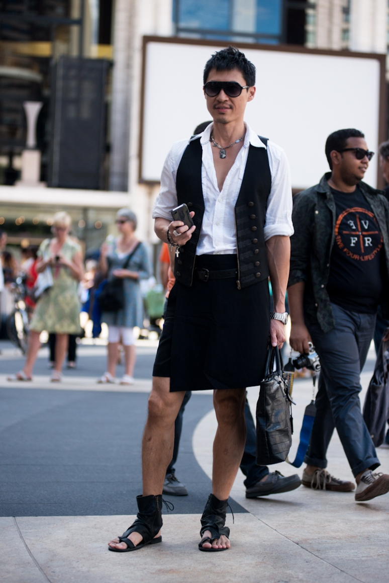 Nyfw Street Style Man In Kilt Picturedbydesign New